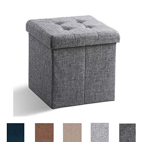 Zedelmaier Sitzhocker mit Stauraum, Fußbank Truhen Aufbewahrungsbox faltbar belastbar bis 300 kg, Leinen, 38 x 38 x 38 cm (Dunkelgrau)