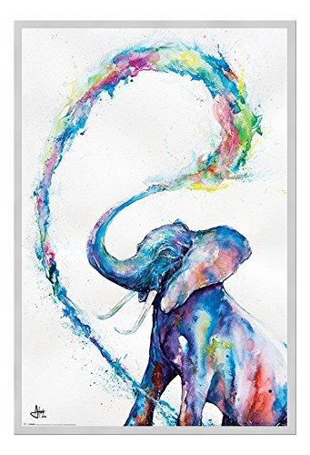 Marc Allante Elefante Poster Artistico Magnetico Bacheca Con Cornice Argento - 96.5 x 66 cms (Approx 38 x 26 pollici)
