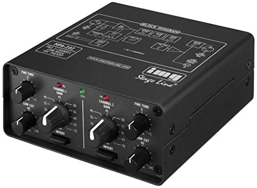 IMG Stage Line MPA-202 2-Kanal Low-Noise Mikrofon-Vorverstärker schwarz