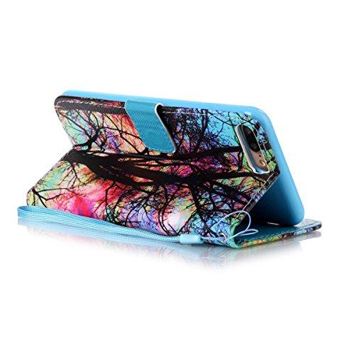 Ekakashop Custodia iphone 7 plus 5.5 inch, Cover iphone 7 plus 2016 model, Elegante borsa Custodia in Pelle Protettiva Flip Portafoglio libro Case Cover per Apple iphone 7 plus 5.5 inch / con Carte Sl Albero Colorato