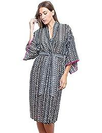 Cotton Real Ladies Voile Black Aztec Print Kimono Wrap Dressing Gown 0caf439c4