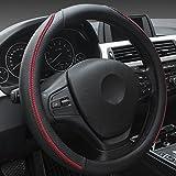 XuanMax Universal Funda de Volante Coche Cuero Microfibra Piel Respirable Vehiculo Cubierta del Volante Envoltura Protectora Antideslizante Auto Steering Wheel Cover 38cm - Negro