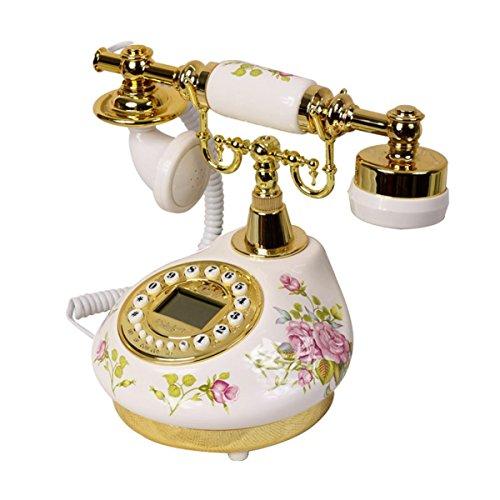 Galleria fotografica AJZGF Telefono Vintage Idillio Oro Modello In Ceramica Pulsante Cablato Schermo Blu Chiamata Antica Ufficio Di Casa Di Cancelleria Cinese Telefono Fisso