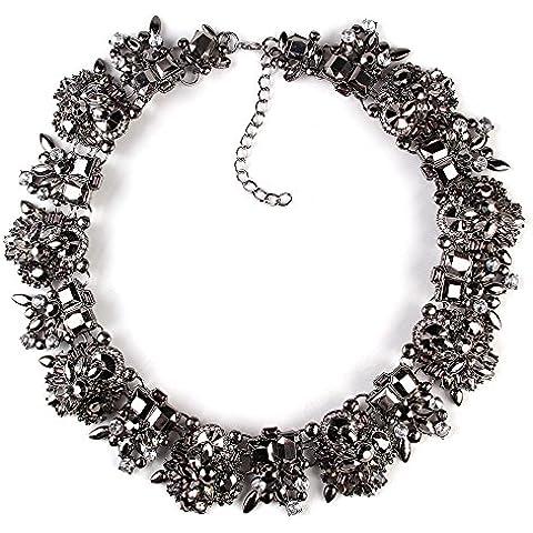 TWOPAGES - Collana girocollo stile Bohemian vintage, con brillantini, colore: nero, regalo per la festa della mamma