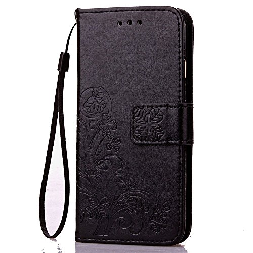 iPhone 6S Plus Hülle,iPhone 6 Plus Hülle, iPhone 6 Plus/ 6S Plus Hülle Ledertasche Brieftasche handyhülle im BookStyle, SainCat PU Leder Wallet Case Folio Schutzhülle Gemalt Muster Hülle Bumper Handyt Klee-Schwarz