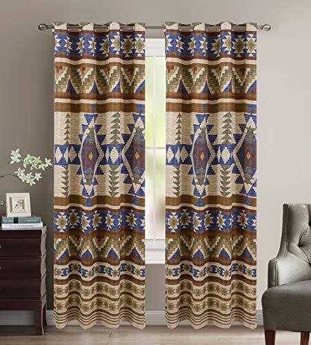 Bettwäsche-Set für Tagesdecke, Western-Südwester, Indianer, Tribal Navajo, 3-teilig, Mehrfarbig, Beige, Taupe, Braun, Blau, Grün Thermal Curtain Set