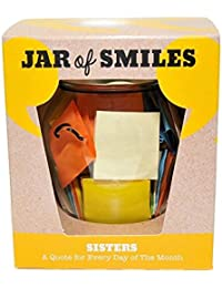 "Quotes for Sisters - A Month of Loving, Sentimental & Humourous Quotations in a NEW STYLE 314ml Premium Italian Orcio Glass Jar. The Perfect Gift for Your Sister. 31 Multi-Coloured Quotes to Show Your Sister How Much You Love Her and Value Her Friendship. ""Be The Reason Your Sister Smiles Today"" - Complete with gift box."