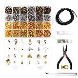 ETSAMOR 1060 Stücke Schmuckherstellung Set 24 Sorte Schmuck Zubehör mit Zangen Kette Pinzette DIY Schmuckherstellung für Änfänger Ohrringe spaltringe Verschluss Ohrring Armband Halsketten