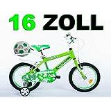 """16"""" 16 Zoll Kinderfahrrad Kinder Jungen Fahrrad Bike Jugendfahrrad Jugendrad KICK Grünweiss"""
