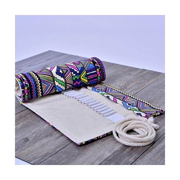 NUOLUX 72 ranuras Estuche lápices de rollo Estilo étnico lavable enrollable lápiz bolsa para bolígrafos lápices