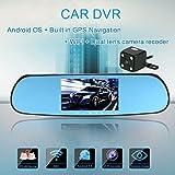 KKmoon 5 Zoll 1080p GPS Navigation WIFI Doppellinse Auto DVR Kamera Recorder mit Karte Android-Smart-System Auto-Rückspiegel Erbaut (AWQ8)