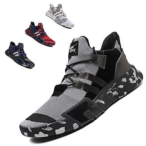 ZTM Scarpe da Corsa alla Moda Leggere Scarpe Sportive da Uomo Scarpe Sportive Traspiranti Scarpe da Passeggio,Gray,10.5