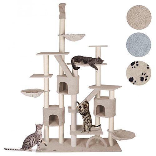 Happypet Kratzbaum CAT013 Katzenbaum deckenhoch Beige höhenverstellbar 2,25 bis 2,55 hoch ca. 9 cm Sisalstämme