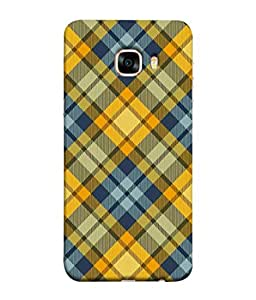 PrintVisa Designer Back Case Cover for Samsung Galaxy C5 SM-C5000 (Checks Design In Yellow And Blue)
