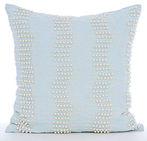 The HomeCentric Luxus Hellblau Kissen Shams, Perlmutt-Boudoir Kissen Shams, 60x60 cm Kissen Shams, Baumwolle Leinen Kissen Shams, Arctica (Boudoir-sham)