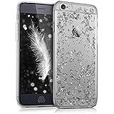 kwmobile Crystal Case Hülle für > Apple iPhone 6 / 6S < aus TPU Silikon mit Flocken Design - Schutzhülle Cover klar in Silber Transparent