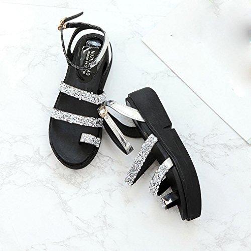 Webla Frauen Gladiator flache Rhinestone Sandalen Sommer Schuhe Mode Sandalen Schuhe Dick Absatzform Silber