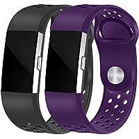 """HUMENN Fitbit Charge 2 Armband, Zwei-Farben Weich Silikon Ersatzarmband Smartwatch Sport Band für Fitbit Charge 2 Herzfrequenz Fitnessaufzeichnung (5.5""""-8.1"""")"""