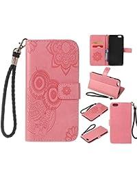 Ecoway Para Apple iPhone 6s Plus(5.5 Zoll ) Funda, Patrón de búho en relieve Cuero de la PU Leather Cubierta , Función de Soporte Billetera con Tapa para Tarjetas Soporte para Teléfono - Rosa