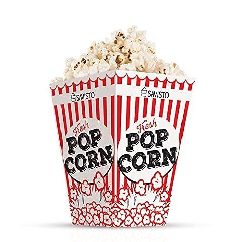 Savisto Red & White Retro Cinema Style Popcorn Party Boxes – Pack of 12