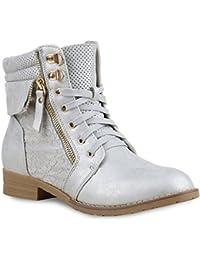 Damen Stiefeletten | Worker Boots Leder-Optik | Schnürstiefeletten Stiefel Camouflage | Booties Blockabsatz Spitze | Gr. 36 - 42 | Flandell®