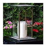 ♥ Design GRABLAMPE Glas mit Kreuz Incl.GRABKERZE 22,0cm GRABSCHMUCK GRABLATERNE GRABLEUCHTE Laterne Garten Friedhof Grablicht GRABDEKO Kerze