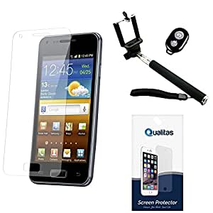 Qualitas Pack of 4 Matte Screen Protector for SAMSUNG GALAXY NOTE 3 + Handheld Selfie Monopod with Bluetooth Clicker