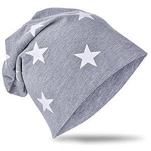 Berretto lungo in jersey, da bambino, unisex, in cotone, motivo con stella KleinStern-Grau X-Small