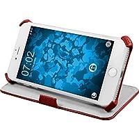 PhoneNatic Echt-Lederhülle für Apple iPhone 7 Plus Leder-Case rot Tasche iPhone 7 Plus Hülle + Glasfolie