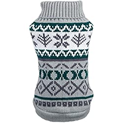 FUNOC Ropa de Suéter Jerseys Suéter de Punto Lana Cálido Abrigo de Cuello Alto para Mascotas (L, Gris)