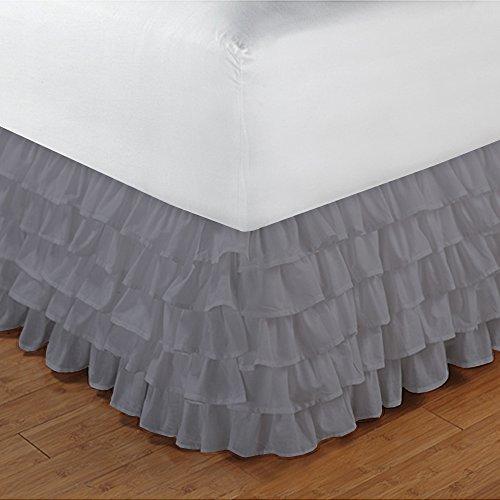 600TC 100% cotone egiziano, finitura elegante 1pcs multi Ruffle Giroletto A Goccia (lunghezza: 17inches), Cotone, Elephant Grey Solid, UK_Small_Double Silver Grey Solid