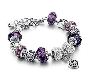 Bracelet Charmes de Bijoux Plaqué Argent Perles de Verre de Murano Violet, avec Pendentif Coeur Cristal