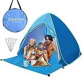 Camonti Tente de Plage, Pop Up Tente Camping Anti UV Léger Imperméable Automatique Abris de Plage Tentes instantanées portative familiale avec Sac & Fermeture Bleu (200 * 165 * 130cm)