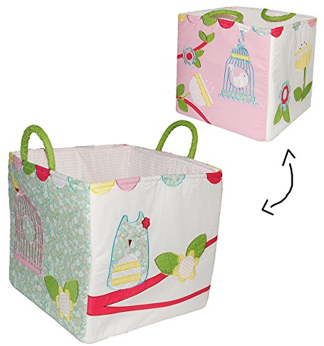 XXL Stofftasche - Vogel & Eule - z.B: als Spielzeugtasche / Einkaufstasche / Shopper / Aufbewahrungsbox / Reisetasche - für Kinder - Baby Mädchen Jungen - Spielzeugkorb Aufbewahrung