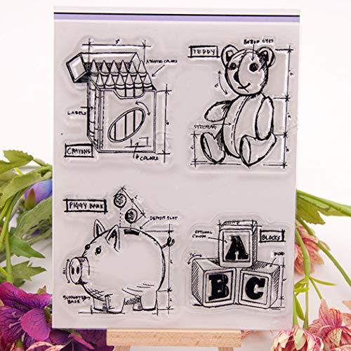 BINGMAX DIY Silikonstempel Geburtstag Scrapbooking Craft Karte Gummi Stempel Weihnachten Valentinstag Jahre Geschenke Schwein Sparschwein -