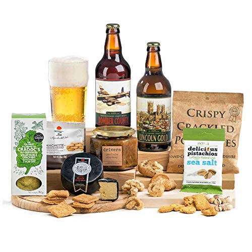 Craft Beer With Cheese, Crackers, Chutney & Bar Snacks Hamper Christmas Gift for Men