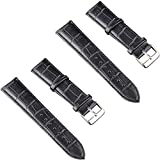 ECSEM Genuine Leather Strap - Choice of Color & Width (20mm) - Premium Leather Watch Bands, Black+Black