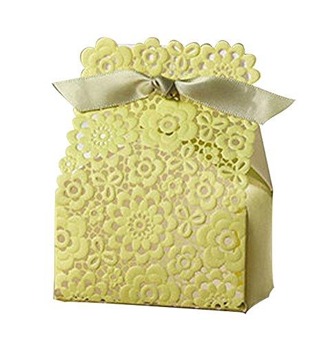 Zitrone grüne Spitze Blumen einzigartige Hochzeit Bevorzugungskästen Partei Geschenke für die Gäste Hochzeitskarte Box 10 Stück (Bonbons oder Pralinen nicht enthalten) (Zitrone Spitze)
