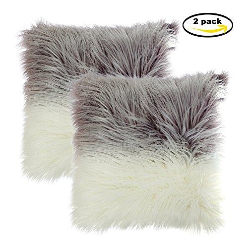Faux Fur Throw Funda de cojín, LIVEBOX Deluxe Home Decorativo Super Soft Plush Mongolia Faux Fur Throw Pillow Funda Funda de cojín 18 x 18 pulgadas, paquete de 2 sin inserciones