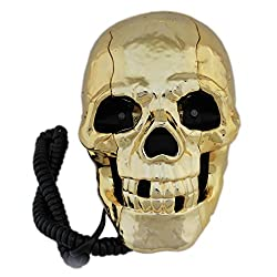 Skeleton Skull Shape Wired Telephone Landline Phone with Led Eyes (Golden)