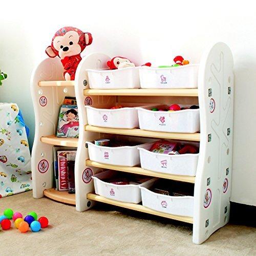 Gupamiga Organizador de Almacenamiento de Juguetes para niños colección Rack de los niños Deluxe estantería de plástico y Cesta Marco Sundries con 8 Cubos organizadores de Juguetes(8binsA+B)