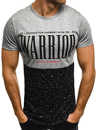 OZONEE Herren T-Shirt mit Motiv Kurzarm Rundhals Figurbetont J.STYLE SS023 Grau_JS-SS152
