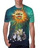 chicolife Manera 3D Creativo Pintada mágica Camisa de impresión de la Cadera de los Hombres Hop Estilo Lightning Gatos con la Hamburguesa Camisetas