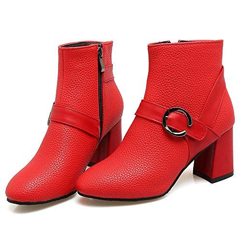 COOLCEPT Femmes Elegant Bottes Cheville Talon Bloc With Zipper red
