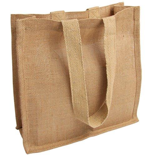 50 mittelgroße Jutetasche Präsenttasche im angesagten Vintage-Look mit Boden und Seitenfalte und langen Henkeln 100% echte Jute hochwertige kleine Einkaufstasche 30 x 30 x 12 cm Jute statt Plastik