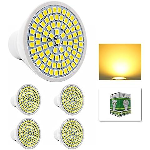 Mengjay® 4 x Confezione lampadine a LED 2800-3200K lampadine LED 5W in bianco caldo in sostituzione di lampade alogene 50W, GU10, 80 SMD 5370, lampadine LED 220V AC