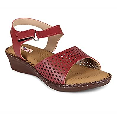 Bella Toes Women's Cherry Synthetic Leather Sandals (507-Cherry, Size: 36 EU) (Refer Size Chart)