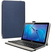 Huawei Mediapad T3 10 Teclado Funda, Infiland Ultra fino Slim Keyboard Case con Magnético Desmontable Teclado Bluetooth Inalámbrico para Huawei Mediapad T3 10 Tablet (Azul Oscuro)
