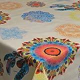 DecoHomeTextil Wachstuch Hippy Bunt Breite & Länge wählbar abwaschbare Tischdecke Eckig 120 x 140 cm