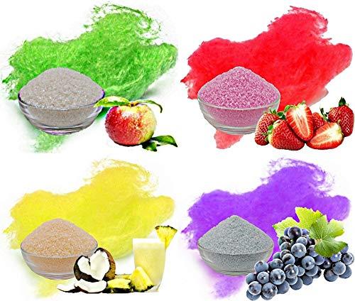 te Zuckerwatte 4x250g mit Geschmack | Apfel - Grün, Erdbeer - Rot, Pina Colada - Gelb, Traube - Lila | Farbaromazucker und Dekorzucker für Zuckerwattemachinen ()